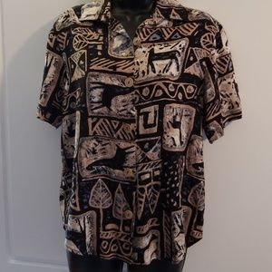 Tres Paquette Button Down Printed Blouse Size S